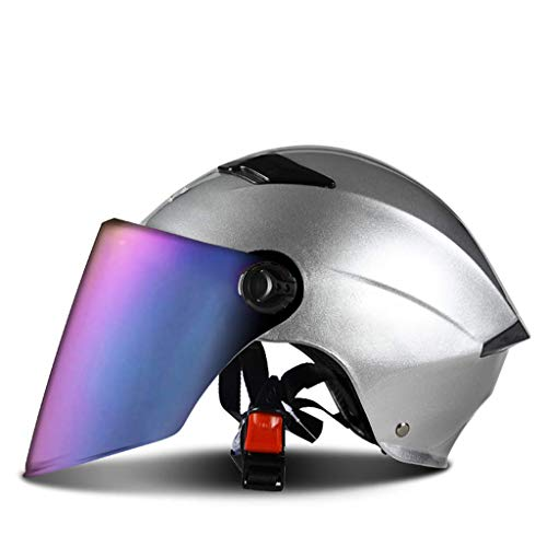 YINUO-Casque Casque de moto électrique Casque semi-recouvert pour femmes Four Seasons Summer Universal Sunscreen UV léger pour homme (Color : GRAY)