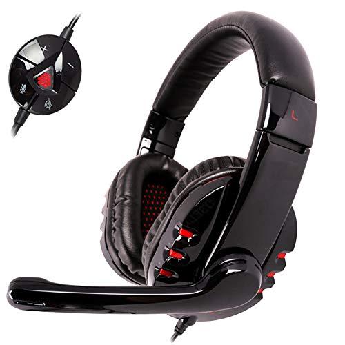 ENEN Casque de Jeu Casque Filaire USB, Microphone de réduction du Bruit de Son Surround 7.1 Faisceau de tête réglable en lumière RVB, adapté pour PC