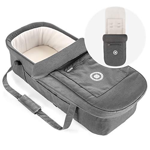 Hoco Baby Tragetasche 3in1 für Buggy (z.B. passend für Geschwisterwagen Tandem) - faltbare Universal Kinderwagen Soft Babywanne (75x30 cm) mit Matratze, Schutzdecke und Einlage - Grau