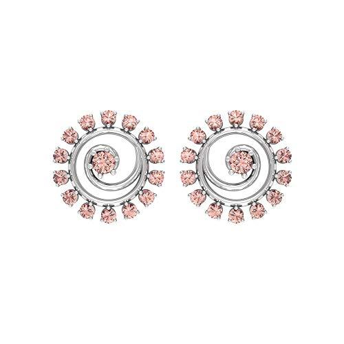 Rosec Jewels 18 quilates oro blanco redonda morganita creada en laboratorio