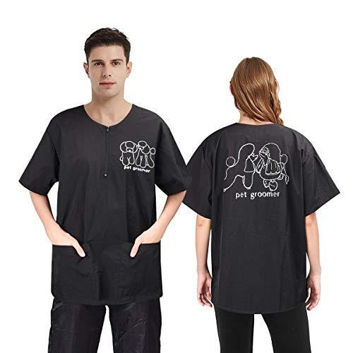 Noverlife Kurzärmeliges Haustierpflegesmock mit 2 Taschen, große Größe, wasserdicht, antistatisch für Tierkosmetikerin, Arbeitskleidung, Kosmetikerin, Uniformen für Haustiergeschäft, Herren und Damen