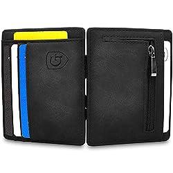 GenTo® Vegas Magic Wallet - Das Original - TÜV geprüft - Dünne Geldbörse mit Münzfach - Geschenk für Herren und Damen mit Geschenkbox - Smarter Geldbeutel - Slim Portemonee (schwarz - Soft)