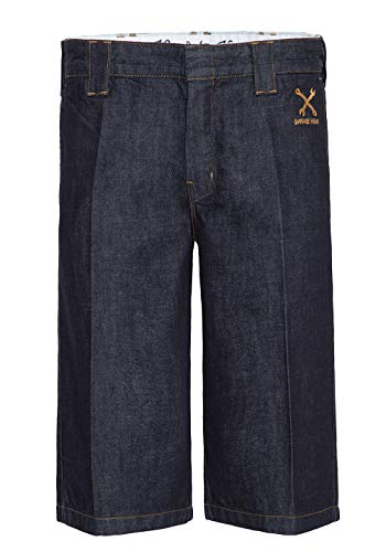 King Kerosin Herren Workwear Shorts In Oil Washed Optik Abgesteppte Kante Shorts Gerade Vintage Garage Wear