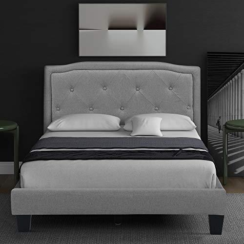 ZOEON Polsterbett 90x200 cm - Bettgestell mit Lattenrost - Einzelbett mit Kopfteil - Max. Belastbarkeit: 130 kg - Stark ohne zu biegen