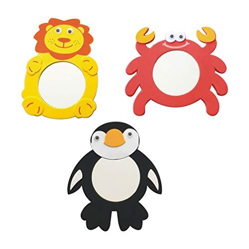 STOBOK Tier Geformt Spiegel 3Pcs Gelegentliche Stil Lion Krabben Pinguin Kinder Leistung Spiegel Spielzeug Spiegel  8. 00X16. 00X1. 00Cm/ 7. 07X6. 29X0. 39 Zoll