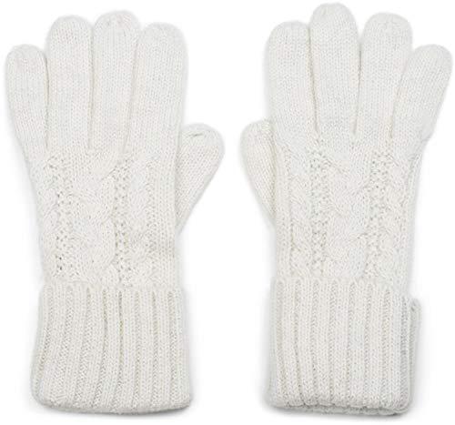 styleBREAKER Damen Strick Handschuhe mit Zopfmuster, Metallic Look und doppeltem Bund, Winter Strickhandschuhe 09010018, Farbe:Creme
