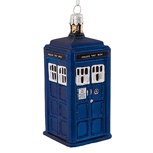 Kurt Adler Glass Ornament with S-Hook and Gift Box, Doctor Who Collection (Tardis)