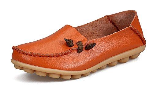 VenusCelia Women's Comfort Walking Cute Flat Loafer(9 M US,Orange)