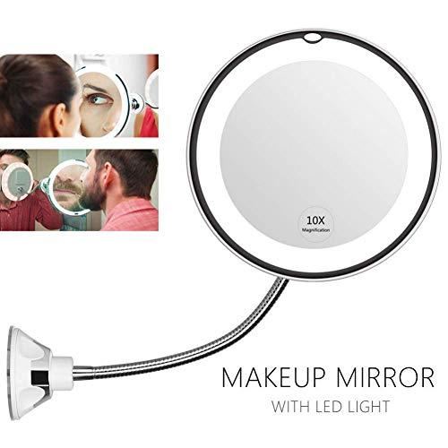 GEYKY Luce Notturna 360 Degree Flexible Lighted Makeup Mirror 10x Magnifying Vanity Shaving Mirror with LED Light Bathroom Bedroom Lamp Night Light
