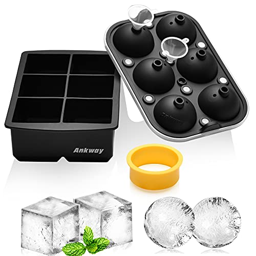 Bandejas para cubitos de hielo, juego de moldes de silicona para hielo Ankway de 5cm, máquina de hielo redondo con tapa y molde cuadrado grande para whisky, cóctel(modelo actualizado 2021, negro)