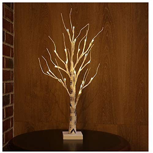 Battery-Operated Snowy Twig Tree Lights with 24 Warm White LEDs Tabletop Christmas Tree Decor for Indoor use (60cm/2ft) (White)