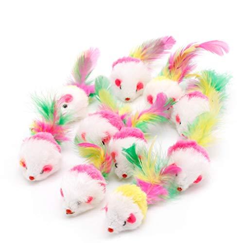 Huafi Katzenspielzeug Interaktives Spielzeug Plüsch Maus mit Federn -Katzenmaus, 10 Stück/Set