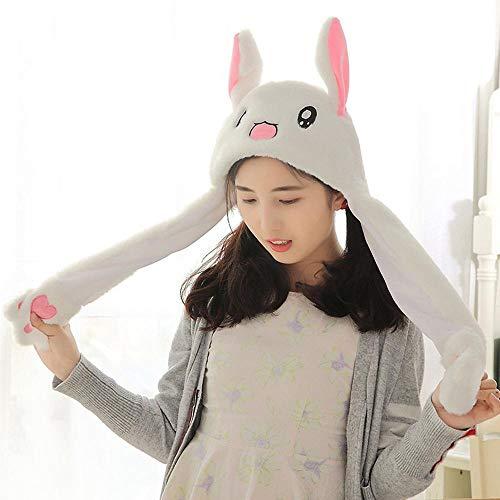 KOBWA - Gorro de Conejo Unisex con Orejas móviles de Peluche y Orejas de Conejo, Diadema, Juguetes, Disfraces, Conejo, niños y Adultos