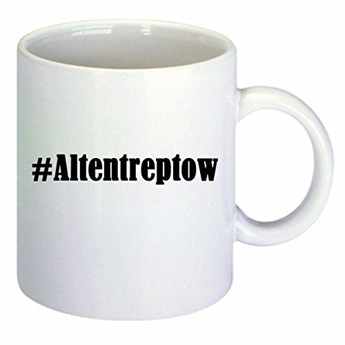 Kaffeetasse #Altentreptow Hashtag Raute Keramik Höhe 9,5cm ? 8cm in Weiß