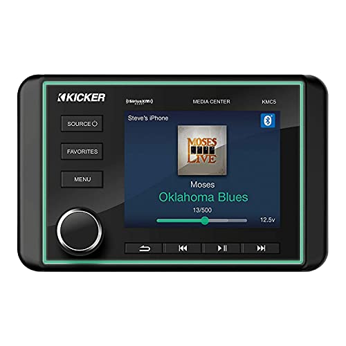 Kicker 46KMC5 Marine 240-Watt Max Power and 120 RMS 6 Channel Boat Gauge Style Media Center with LCD Screen and Bluetooth Connectivity, Black