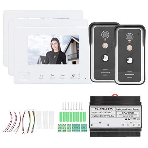 KUIDAMOS Intercomunicador de Video con Cable, 3 uds, Monitor, Pantalla LCD TFT, intercomunicador, Timbre, función de Llamadas de Grupo, Fuente de alimentación integrada para Seguridad en el hogar