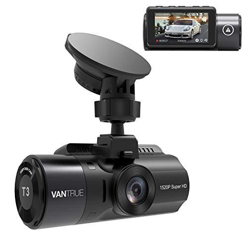 VANTRUE T3 2592x 1520P OBD Dashcam, Superkondensator Dash Cam mit 24Std. Mikrowellen-Parküberwachung, 160° 2.45 Zoll IPS, TYP C Autokamera mit HDR Nachtsicht, G Sensor, Daueraufnahme, max. 256GB