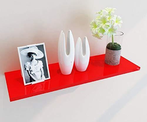 Zyooh U Shelves, Set of 3 Floating U Shelves in Walnut Finish Wall Mounted Picture Ledge Shelf (Red)