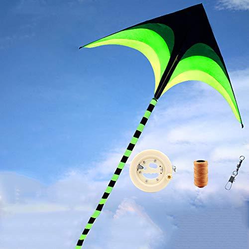Prairie driehoekige kite voor kinderen en volwassenen, groot outdoor-speelgoed voor beginners, zeer eenvoudig te vliegen een kit rugged 160 * 78 cm (62,99 * 30,70 inch), Kite + 400 m line