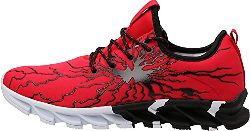 BRONAX Mens Running Off to College Shoes Slip on WHITIN Lightweight Best Athletic Gifts for Sport Stability Gym Travel Tennis Road Trail Cushion Run Sneakers for Men Size 8 Red