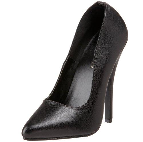 Pleaser Women's Domina-420 Pump,Black Leather,5 M US