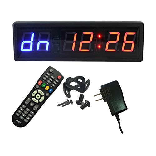 Ledgital Gym Timer 2.3' High Character Interval Timer for Home Gym 15'x5' Workout Crossfit Clock with Remote Control Blue+Red Color