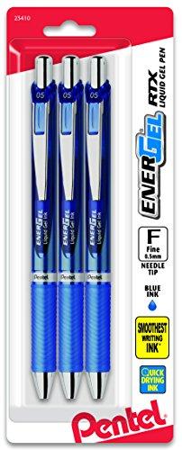 Pentel EnerGel Deluxe RTX Retractable Liquid Gel Pen, 0.5mm, Needle Tip, Blue Ink, 3 Pack (BLN75BP3C)