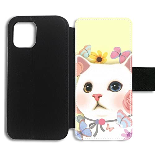 Viaje Cubre Caso Compatible para Apple iPhone 13 Pro Soporte de Tarjeta de Espera Cubre Caso SafeSleeve Tener con White Big-Eyed Cat