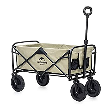Naturehike Collapsible Outdoor Utility Wagon Heavy Duty Folding Garden Portable Hand Cart Compact Outdoor Wheelbarrows Suit for Shopping and Park Picnic Beach Trip and Camping Khaki