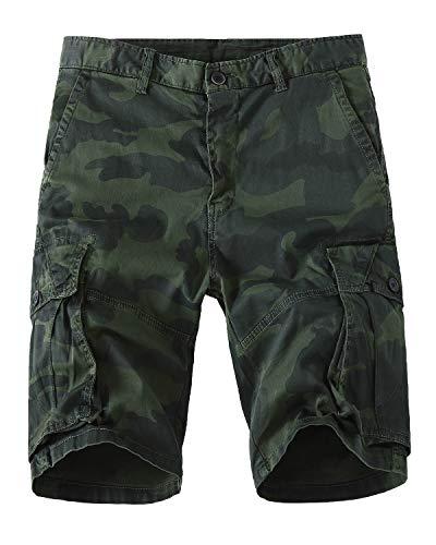 Meerway Hombre Bermudas Pantalones Cortos Camuflaje de Cargo del Estilo Bolsillo múltiple Vintage Pantalones Cortos de Trabajo Verano Verde 38
