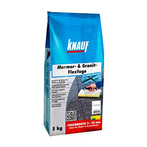 Knauf Marmor- & Granit-Flexfuge – Spezial Fugen-Mörtel auf Zement-Basis für Marmor, Granit, Natur-Steine, Glas-Fliesen und Glas-Mosaik, schnellhärtend, mit Perl-Effekt, Carrara-Weiß, 5-kg