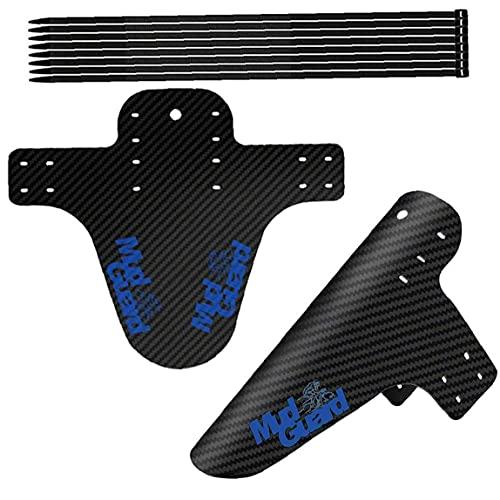 EElabper Lodo MTB Protección contra Salpicaduras De Bicicletas Guardabarros Guardabarros De Bicicletas Patrón Flaps Fibra De Carbono para El Neumático De La Rueda del Neumático Azul 2 Juegos