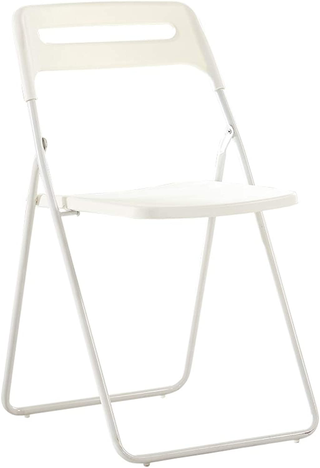 QYSZYG Chair Plastic Folding Chair Home Dining Chair Office Training Chair Six colors Optional Stool (color   White)