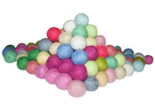 Inozin Felt Pom Pom Balls - Decorative Felting Kit for DIY Arts & Crafts Projects - Pure Woolen Beads for Garlands & Ornaments - Made in Nepal, New Zealand Wool - Bright Colors, 100 Pieces, 2 cm