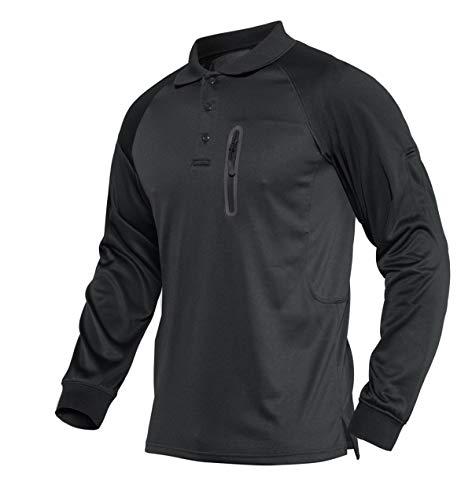 KEFITEVD Polo à manches longues pour homme avec poche zippée - Noir - Small