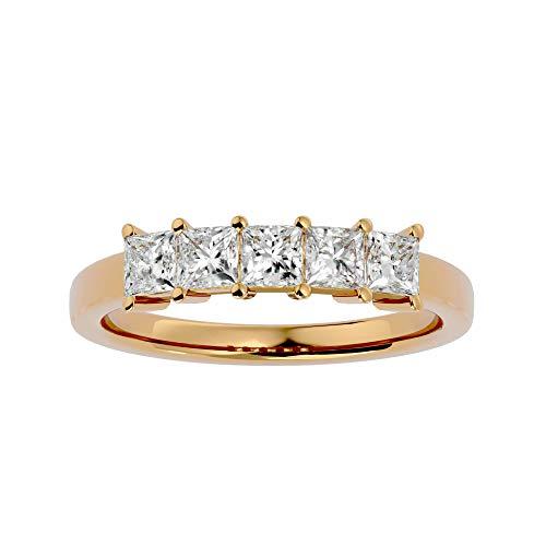 Anillo de oro de 14 quilates con diamante natural de corte princesa (1,05 quilates) con anillo de boda de oro blanco/amarillo/rosa para mujer