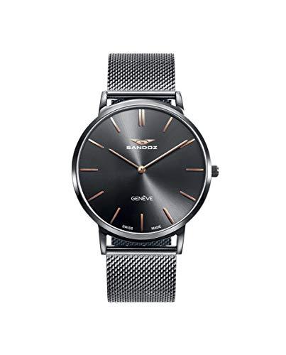 Sandoz - Reloj Acero IP Gris Brazalete Sr Classic & Slim Sa - 81445-17