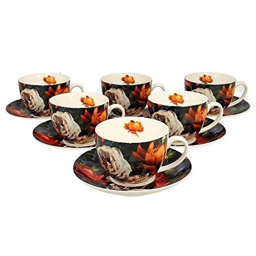 Duo collectie Secret Garden een set van 6 kopjes met schoteltjes Dark Flowers uit New Bone China porselein in geschenkdoos, koffiekopje, theekopje, inhoud 270 ml