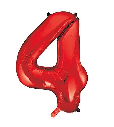 Unique Party- Globo gigante número 4, Color rojo, 86 cm (55854) , color/modelo surtido