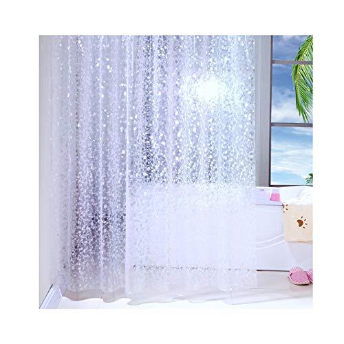 Rubyia PEVA Duschvorhang, Punkt Motiv Duschvorhang Überlänge mit Duschvorhangringen, Weiß, 200 x 240 cm