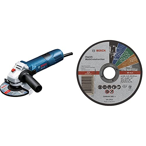 Bosch Professional GWS 7-125 - Amoladora Angular (720W, 11000 RPM, Ø Disco 125 mm, en Caja) + Disco de Corte Recto Rapido Multi Construction - ACS 60 V BF, 125 mm, 1,0 mm (Pack de 1)