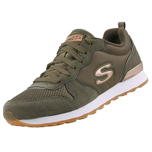 Skechers Womens RETROS-OG 85-GOLDN GURL Trainers, Verde (Olive Suede/Nylon/Mesh/Rose Gold Trim Old), 6 UK (39 EU)