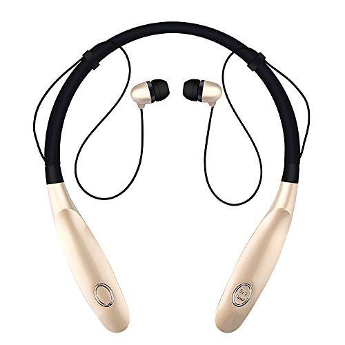 TLgf Wireless Bluetooth-Headset, leichtes Stereo, 20 Stunden Wiedergabezeit, IPX4 wasserdicht, Hals montierte Sportkopfhörer mit eingebauter Rauschreduzierung Mikrofon,Gold