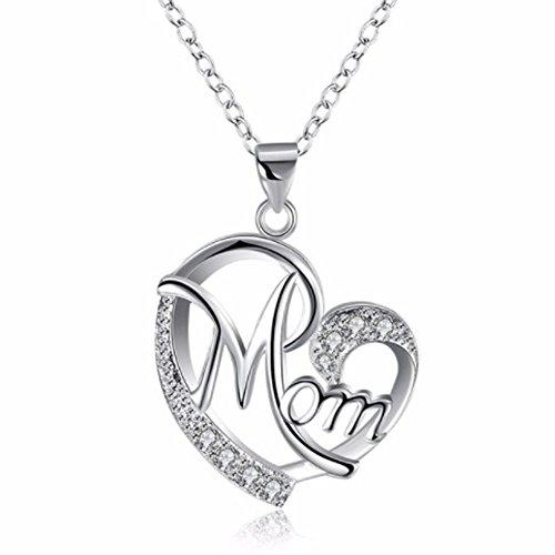 IzuBizu London Womens 925 Sterling Silver Mother Love Heart White Crystal Love Mom Diamond Necklace