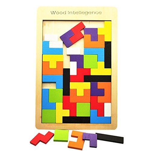 babyGreen Puzzle Tetris de Madera, Tangram Jigsaw Rompecabezas Madera Juego Educativo Brain Teaser Toy, Colorido de Madera Geometría Rompecabezas para Niños Regalos