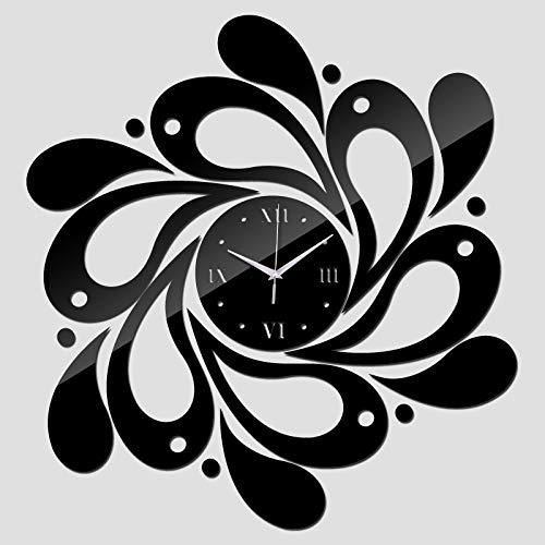 HMG joyería 2 PCS Inicio de acrílico cristalino Cuarzo del Reloj de Espejo del Reloj del pétalo patrón Reloj (Negro) (Color : Black)