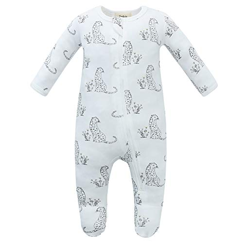 Owlivia Organic Cotton Baby Boy Girl Pajamas, Zip Front Sleep 'N Play, Non-Slip Footed Sleeper Pjs(12-18 Month, Cheetah)
