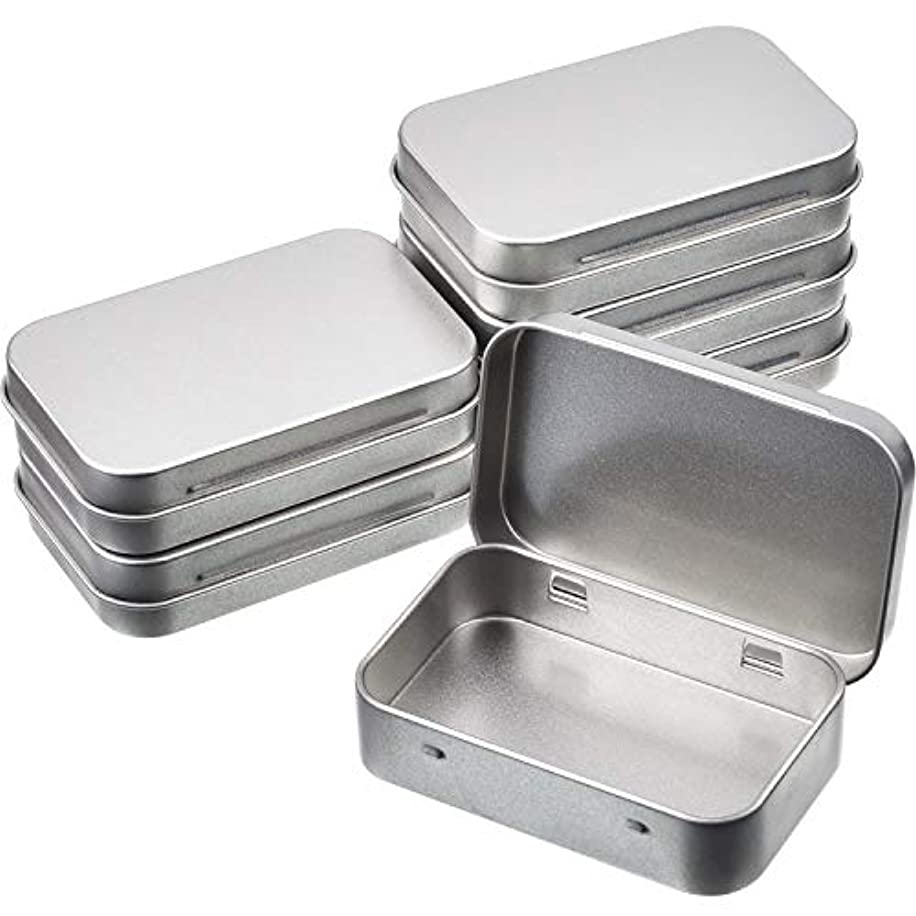 6 Pack 3.75 by 2.45 by 0.8 Inch Silver Metal Rectangular Empty Hinged Tins Box Containers with Lid Mini Portable Box Small Storage Kit, Home Organizer