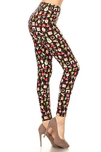 S676-OS Christmas Merriments Print Fashion Leggings, One Size