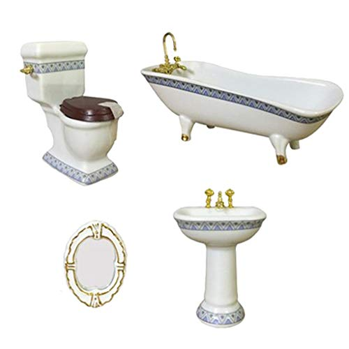 Cuarto de baño Set de Lavado 01:12 Miniatura Bañera WC Lavabo Espejo de 4 Piezas del Dollhouse Accesorios de baño Decoración Dollhouse Kit (Color : Blanco, Size : Gratis)